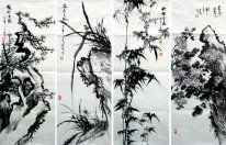 Plum,Orchid,Bamboo,Chrysanthemum-FourInOne - Chinese Painting