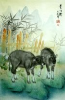 Cow-Two cow - Chinese Painting