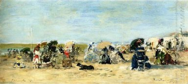 Trouville Beach Scene 1874