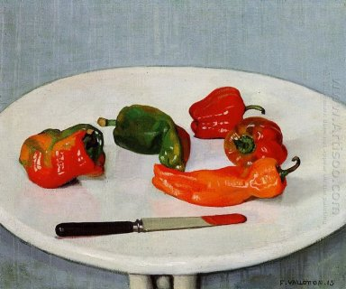 Still Life With Red Peppers On A White Lacquered Table 1915