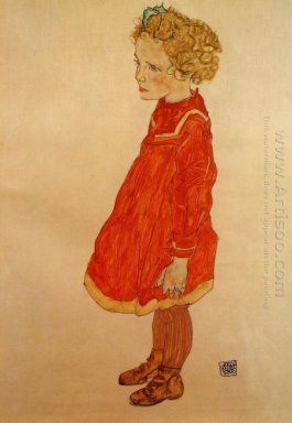 little girl with blond hair in a red dress 1916