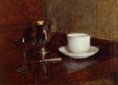 Still Life Glass Silver Goblet And Cup Of Champagn 1871
