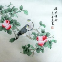 Peach & Birds Pintura -Chinês