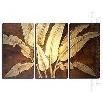 Hand-painted Floral Oil Painting with Gold and Silver Foil - Set