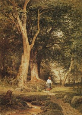 A Woman With A Boy In The Forest 1868