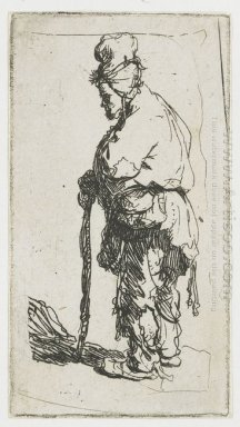 Beggar Leaning On A Stick Facing Left 1630