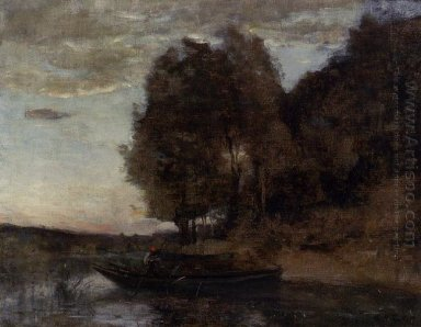 Fisherman Boating Along A Wooded Landscape