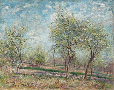 apple trees in bloom 1880