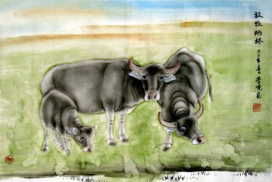 Cow-Grazing Taolin - Chinese Painting
