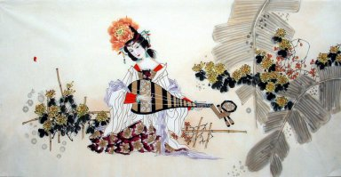 Beautiful lady, Guqin - Chinese Painting