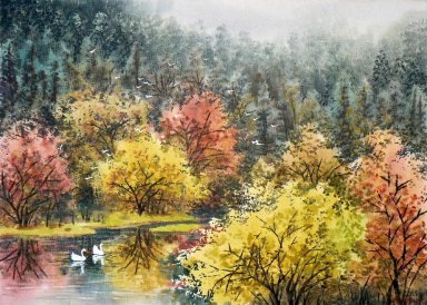 Trees, watercolor - Chinese Painting