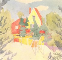 Landscape with the house with red roof