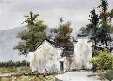 Farmhouse, watercolor - Chinese Painting