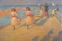 Girls Running, Walberswick Pier