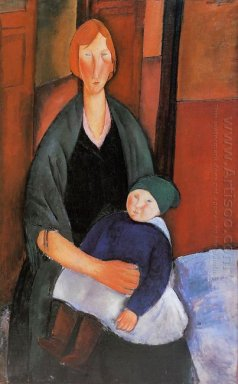 seated woman with child motherhood 1919