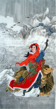Beautiful lady, Camel - Chinese Painting