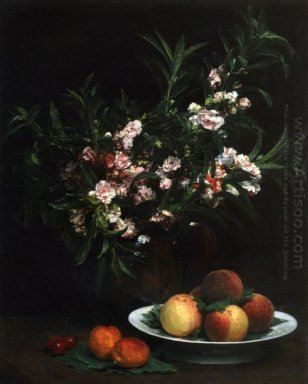 Still Life Impatiens Peaches And Apricots