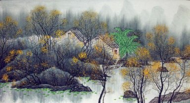 Tree, farmhouse - Chinese Painting