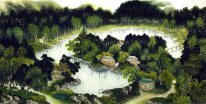 A Courtyard, trees - Chinese Painting