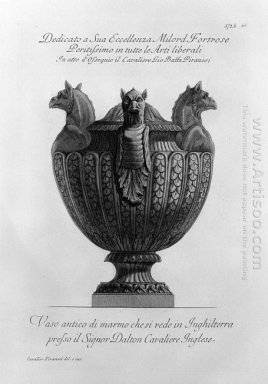Vase With Ancient Marble Griffins And Ribbing