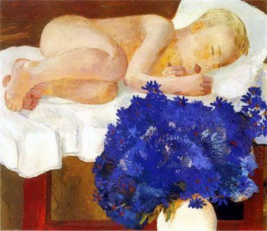 sleeping baby with cornflowers 1932