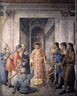 St Lawrence Giving Alms 1449