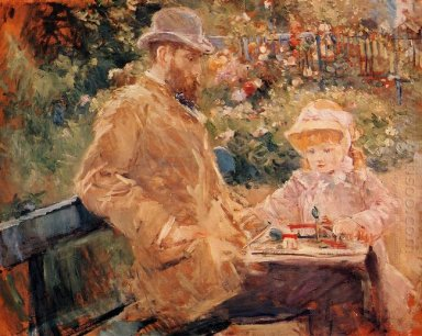 Eugene Manet With His Daughter At Bougival