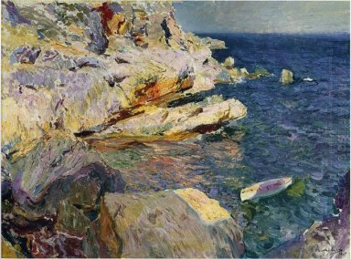 Rocks And White Boat Javea 1905