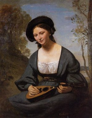 Woman In A Toque With A Mandolin