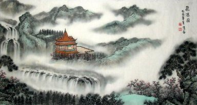 Waterfall,temple - Chinese Painting