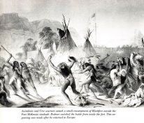 Assiniboin and Cree warriors attack Blackfeet