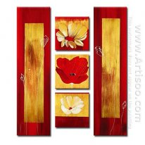 Hand-painted Floral Oil Painting - Set of 5