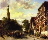 A Busy Market in Veere with the Clocktower of the Town Hall Beyo
