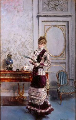 A Lady Admiiring A Fan 1878