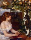 Girl And Cat 1882