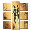 Hand-painted Abstract Oil Painting - Set of 7
