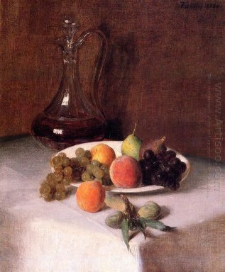A Carafe Of Wine And Plate Of Fruit On A White Tablecloth 1865