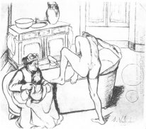 Nude Getting Into The Bath Beside The Seated Grandmother 1908