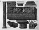 A Frieze With Architrave Column Two Capitals A Bed A Shelf And T