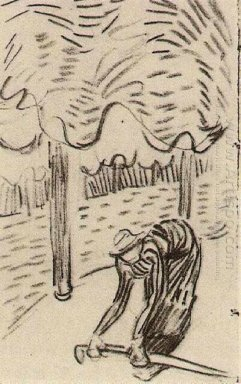 A Woman Picking Up A Stick In Front Of Trees 1890