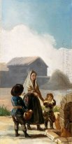 A Woman And Two Children By A Fountain 1786