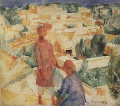 Boys On The Background Of The City 1921