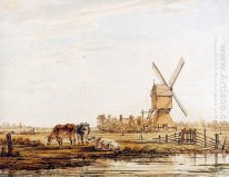 Landscape with mill and cattle