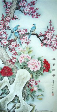 Plum&Peony&Birds - Chinese Painting