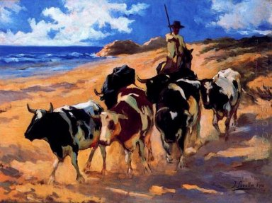 Oxen At The Beach 1916