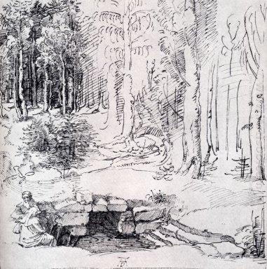 forest glade with a walled fountain by which two men are sitting