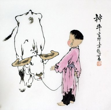 Boy and Buffalo - Chinese Painting