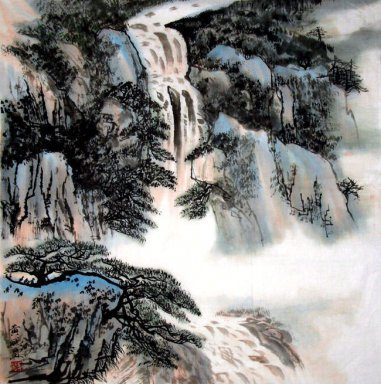 Waterfall and pines - Chinese Painting