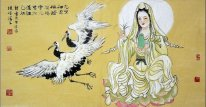 GuanShiyin, Guanyin and crane - Chinese Painting