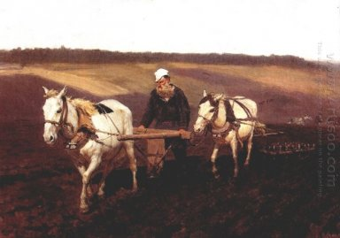 Portrait Of Leo Tolstoy As A Ploughman On A Field 1887